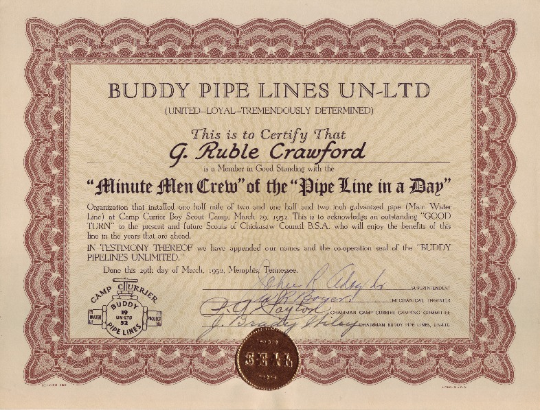 http://www.kiakimamuseum.org/plugins/Dropbox/files/1952 - Camp Currier Buddy Pipe Lines Certificate & Letter.pdf