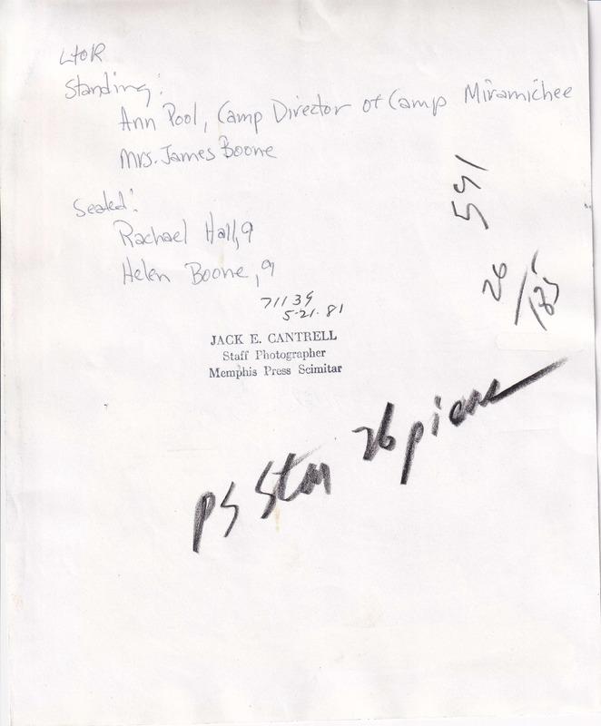 1981 - (5-21-81) Camp Miramichee - Ann Pool, James Boone, Rachael Hall, Helen Boone (REVERSE).tiff