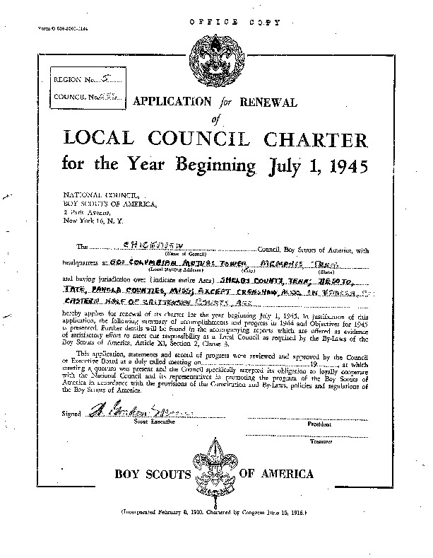 1945 - Chickasaw Council Recharter & Annual Report.PDF