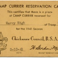 1941 Camp Currier Reservation Card