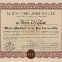 1952 Camp Currier Buddy Pipe Lines Certificate & Letter