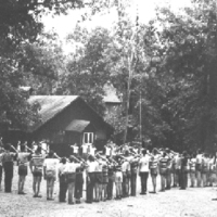 http://www.kiakimamuseum.org/plugins/Dropbox/files/1951 August - Evening Flag with old DHall (photo by Henry D. Fleming, Asst. Scout Master, Troop 35).jpg