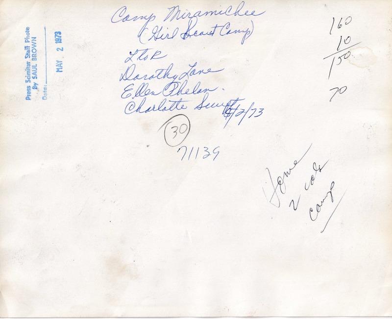 1973 (5-2-73) - Camp Miramichee - Dorothy Lane, Ellen Phelan, Chartollet Swift  [Press-Scimitar] (REVERSE).tif